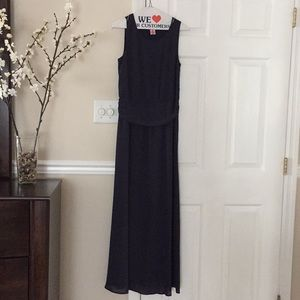 Maxi length navy blue gown